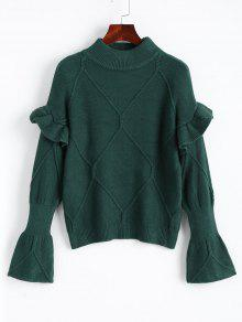 Buy Mock Neck Ruffles Pullover Sweater - DEEP GREEN ONE SIZE