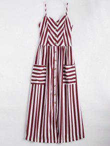 Vestido Con Tirante Fino A Rayas Con Botones - Rojo Oscuro L