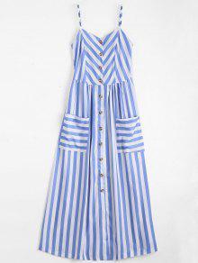 فستان زر مخطط كامي - الضوء الأزرق S
