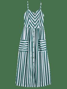 Negruzco M Vestido Rayas Tirante Botones Verde Con A Con Fino wz8qv