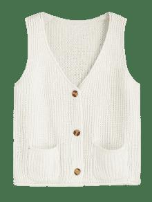 Chunky Button Up Cardigan Vest OFF-WHITE: Sweaters ONE SIZE | ZAFUL