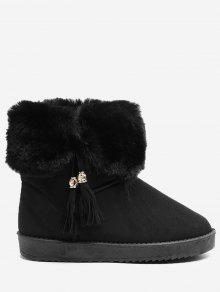حذاء الثلوج بكعب مسطح مزين بشرابات - أسود 39