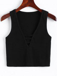 Camiseta Sin Mangas Recortada Con Cuello En V - Negro M