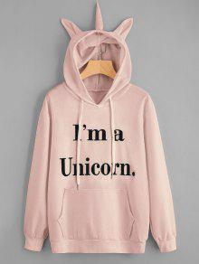 Unicorn Letter Graphic Drawstring Hoodie