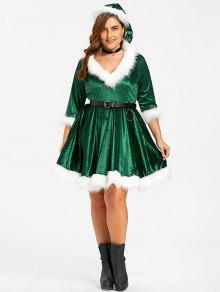 7f5872862 56% OFF  2019 Plus Size Christmas Faux Fur Panel Velvet Dress With ...