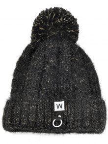 W التطريز مطرز ثخن الحياكة بوم قبعة صغيرة - أسود