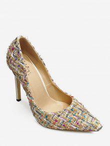 حذاء ستيليتو بقماش المربعات الملونة مدبب من الأمام - مشمش 41