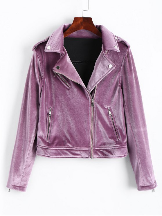chic Zip Up Velvet Biker Jacket - PURPLE M