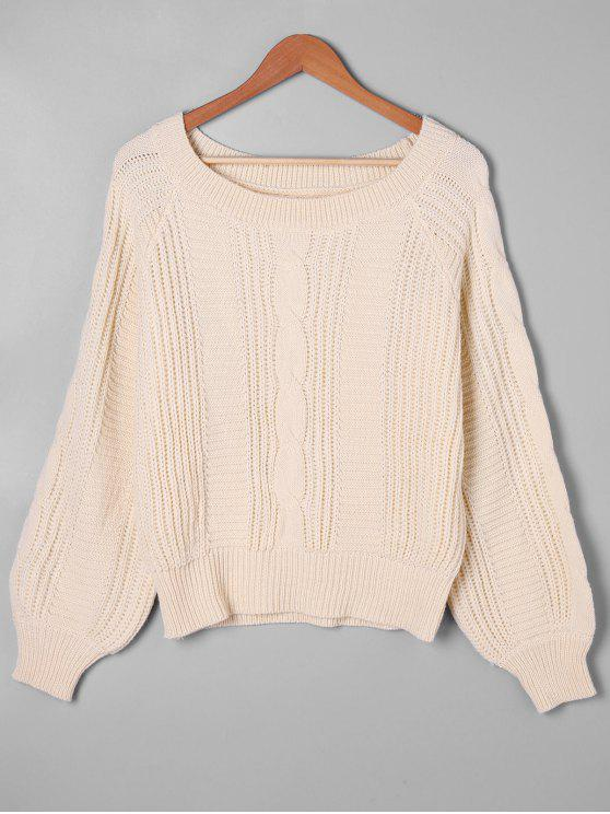 sale Balloon Sleeve Cable Knit Sweater - APRICOT XL