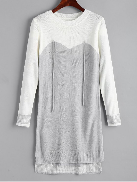 outfits High Low Two Tone Sweater Dress - GREY AND WHITE ONE SIZE