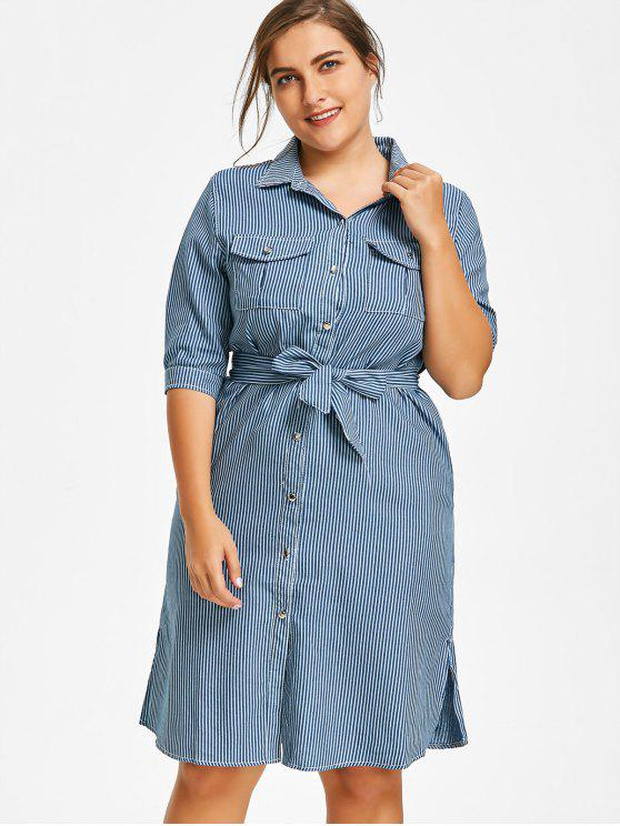 Plus Size Side Slit Striped Shirt Dress BLUE AND WHITE