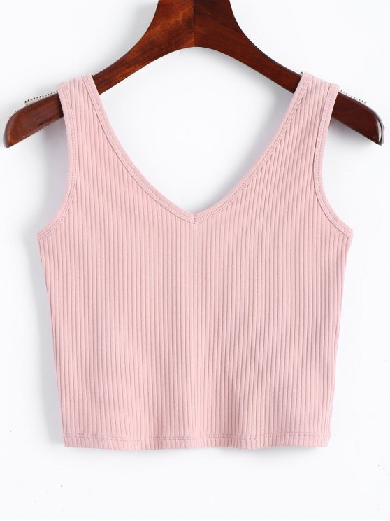 shops V Neck Knitted Cropped Tank Top - PINK S