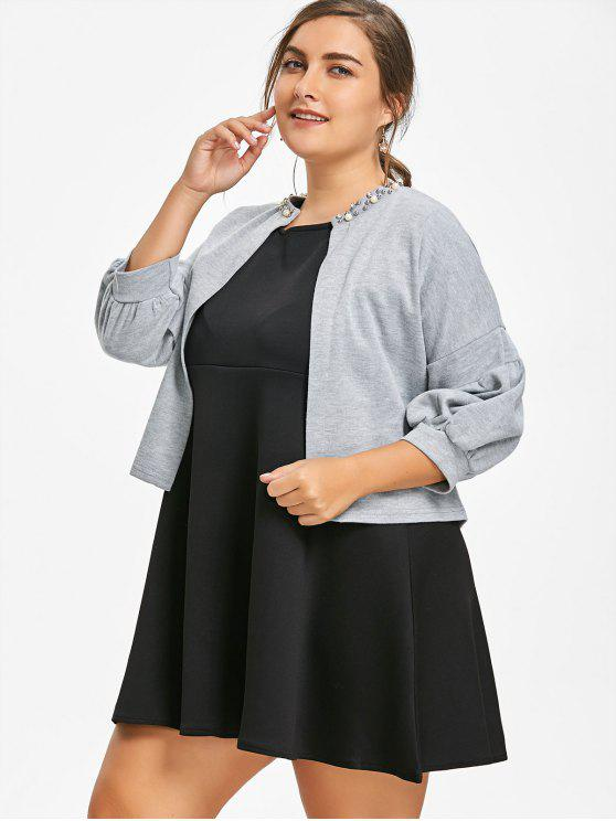 Sleeveless Plus Size Dress with Crop Jacket BLACK AND GREY RED WITH BLACK