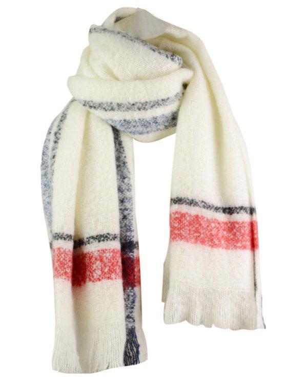 Patrón de rayas adornados con flecos bufanda gruesa - Blanco Talla única