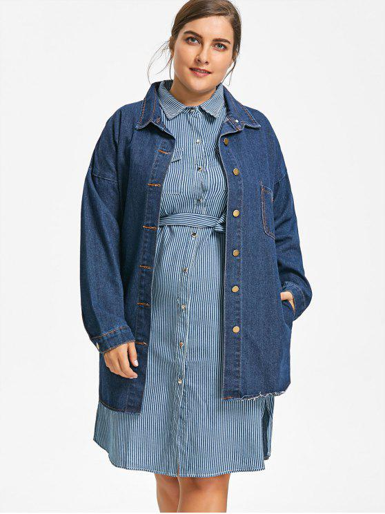 0f535c9fab4 32% OFF  2019 Graphic Plus Size Denim Coat In DENIM BLUE