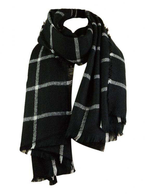 outfit Checked Pattern Artificial Wool Fringed Shawl Scarf - BLACK ONE SIZE