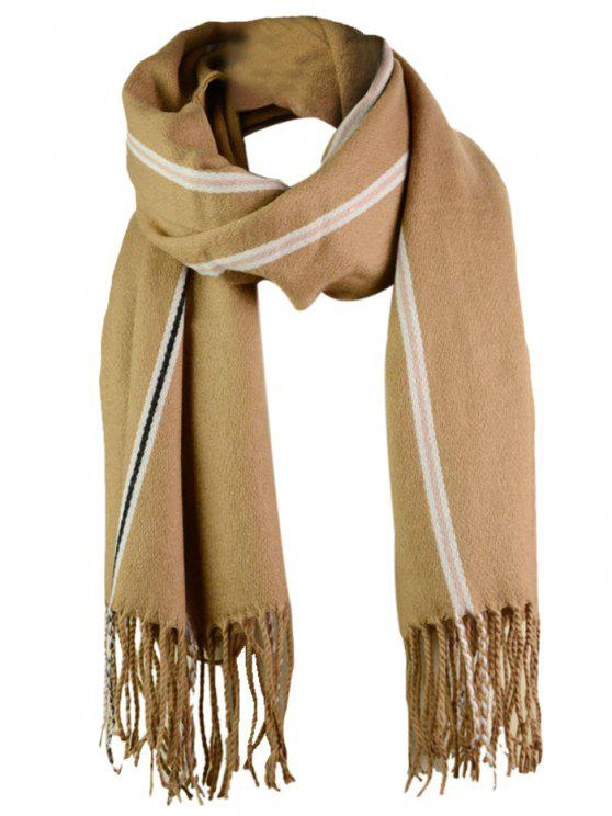 chic Striped Pattern Artificial Wool Fringed Long Scarf - KHAKI ONE SIZE