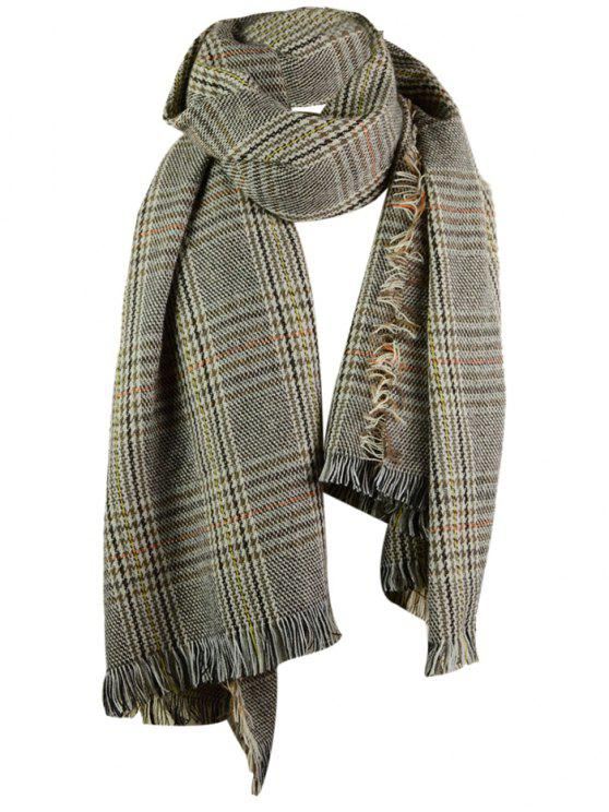 unique Plaid Pattern Faux Wool Fringed Shawl Scarf - FEATHER GRAY