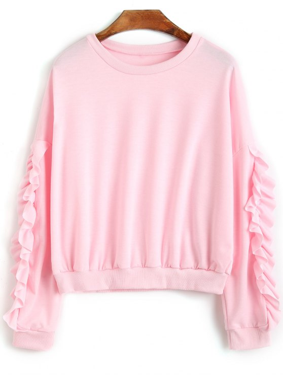 buy Frilled Crew Neck Sweatshirt - PINK XL