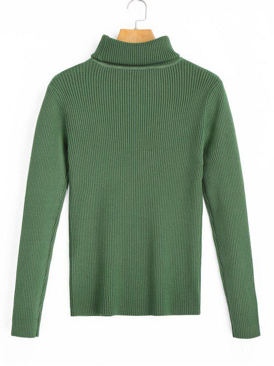 Turtleneck Pullover Ribbed Sweater GREEN: Sweaters ONE SIZE | ZAFUL