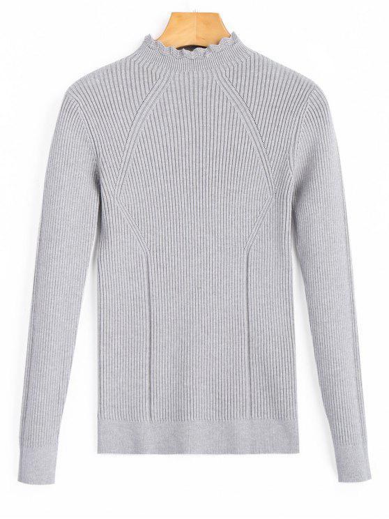Scalloped Pullover Ribbed Sweater GRAY: Sweaters ONE SIZE | ZAFUL