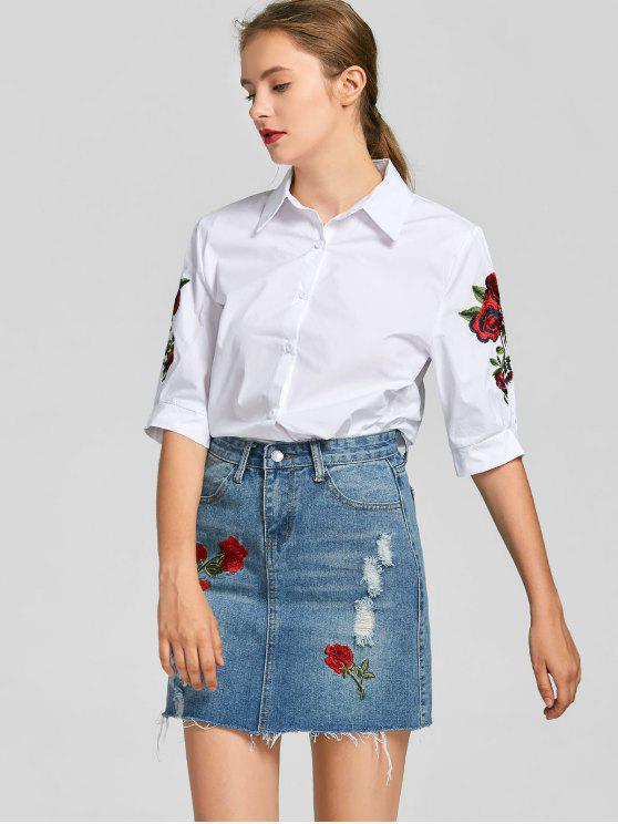 2018 Floral Patched Shirt With Denim Skirt Set In WHITE M | ZAFUL