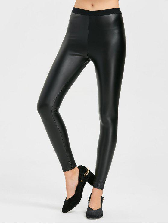 Faux Leather Skinny Pants - Black S