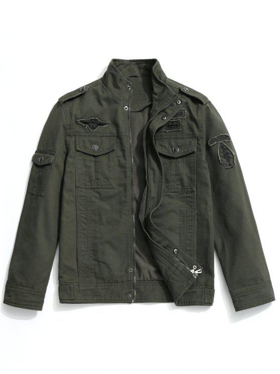 womens Patch Design Field Jacket - ARMY GREEN XL