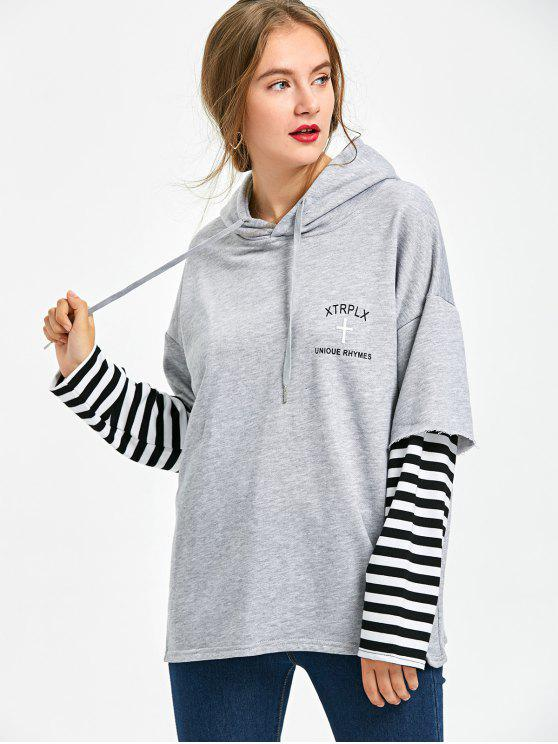 affordable Drawstring Neck Striped Hoodie - HEATHER GRAY S