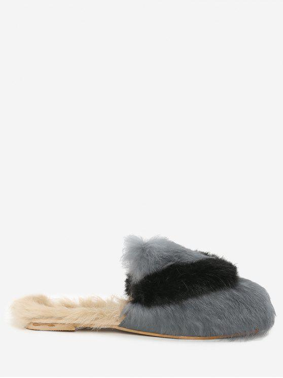 Color Block Outdoor Indoor Faux Fur Slippers - Cinza 36