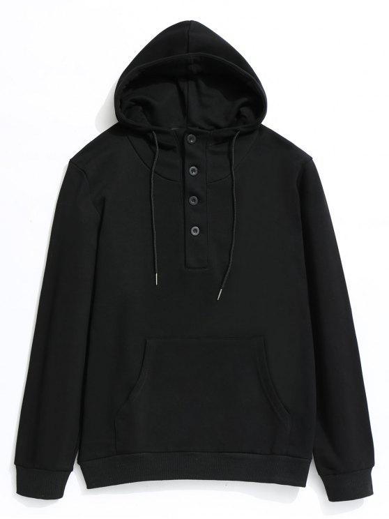 fashion Half Button Kangaroo Pocket Pullover Hoodie - BLACK 4XL