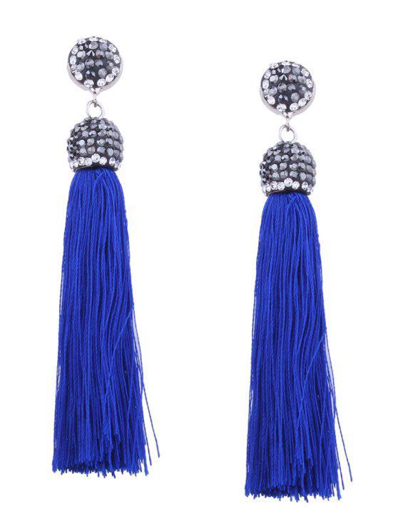 women Statement Rhinestoned Tassel Earrings - BLUE