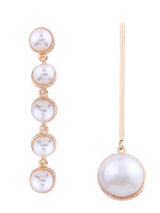 unique Statement Asymmetric Faux Pearl Earrings - GOLDEN