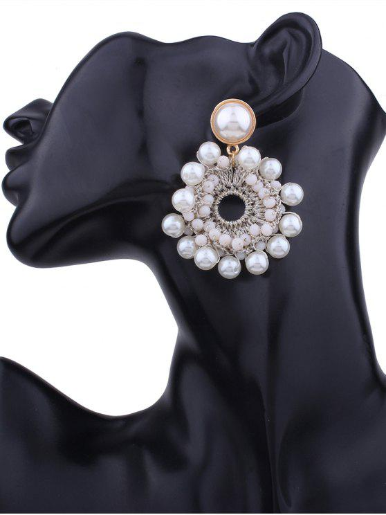 Fals Pearl Beaded Floral Round Earrings - Branco