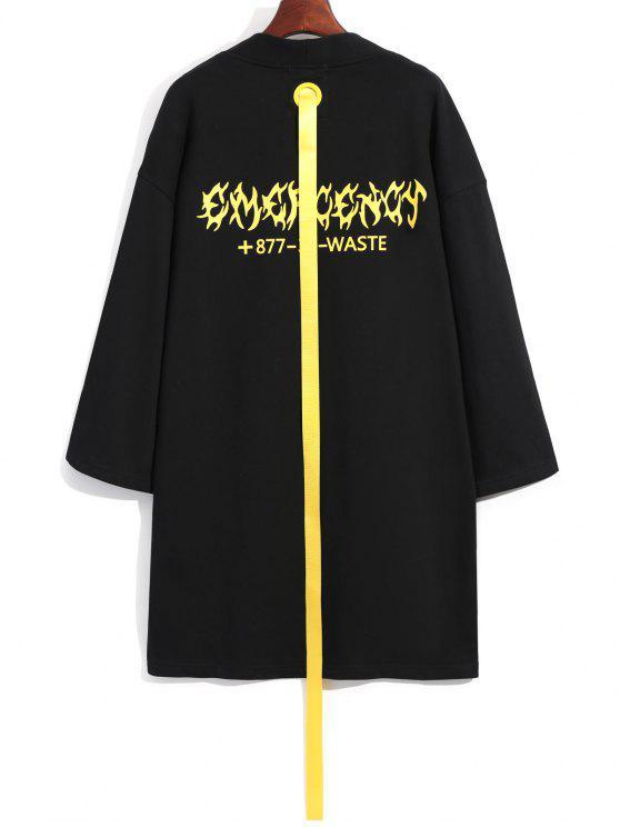 outfits Ribbon Embellished Long Coat - BLACK L