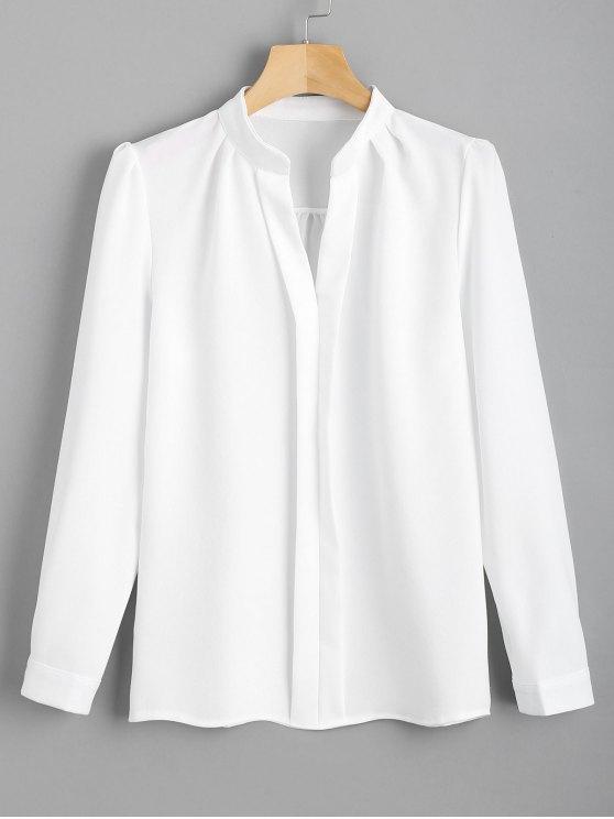 trendy Fitting Long Sleeve Work Shirt - WHITE M