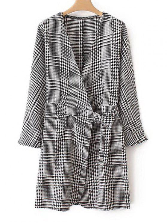 sale Crossed Front Houndstooth Long Sleeve Dress - CHECKED S