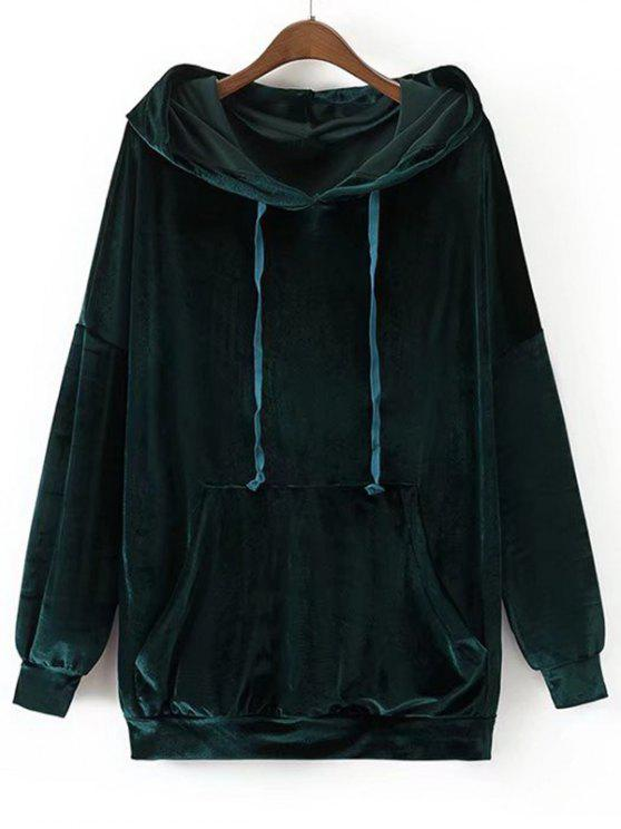 affordable Oversized Crushed Velvet Hoodie - BLACKISH GREEN M