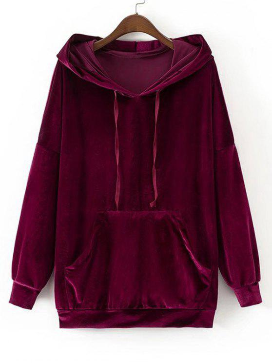 outfits Oversized Crushed Velvet Hoodie - PURPLISH RED M