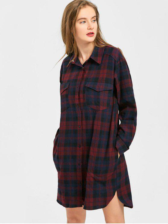 shop Snap Button Checked Pocket Shirt Dress - CHECKED S