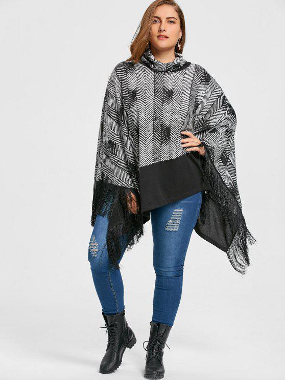 trendy Plus Size Cowl Neck Fringe Poncho Top - BLACK 5XL