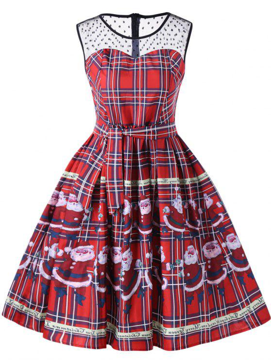 Weihnachtsmann Plaid Sheer Swing Kleid - Rot L