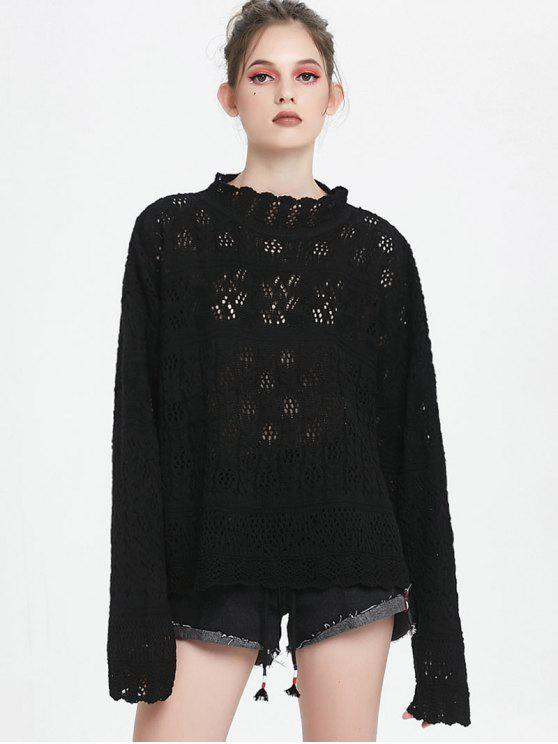 shops High Neck Hollow Out Sweater - BLACK ONE SIZE