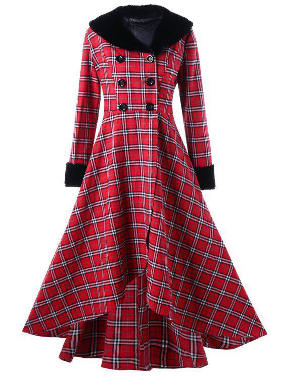 Manteau Trapèze Grande Taille à Double Bouotnnage à Carreaux - Rouge 2XL