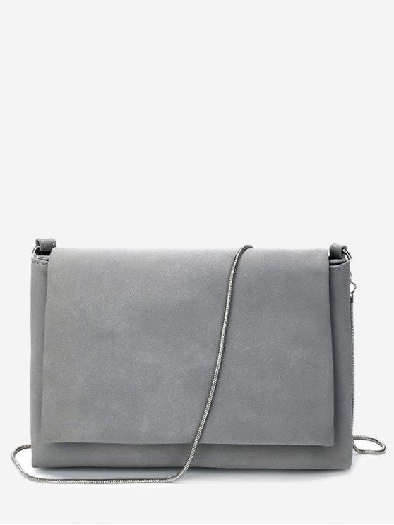 outfit Solid Chain Flap Crossbody Bag - GRAY