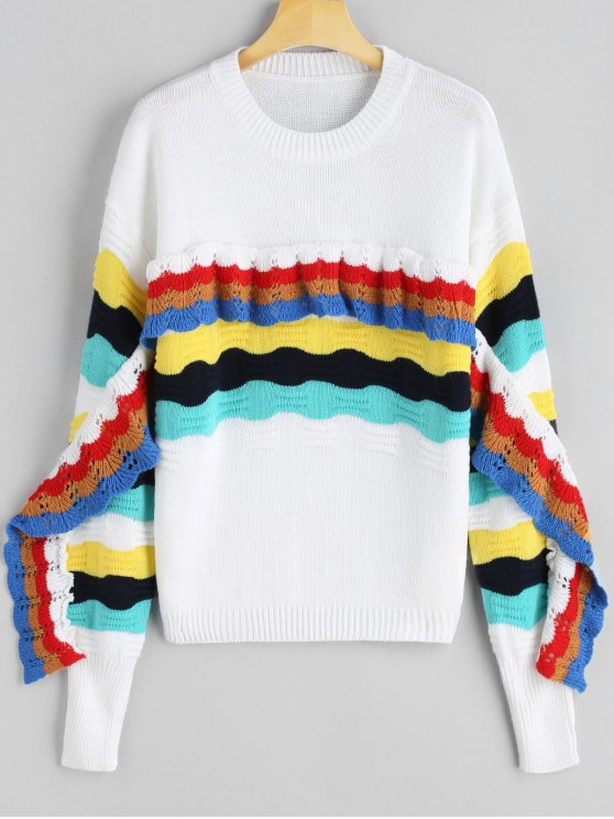 unique Frilled Color Block Crew Neck Sweater - WHITE ONE SIZE