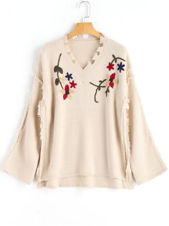 ladies Floral Distressed Sweater - APRICOT ONE SIZE