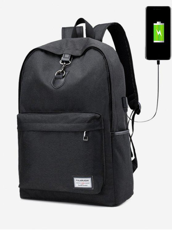 new USB Charging Port Metal Backpack - BLACK