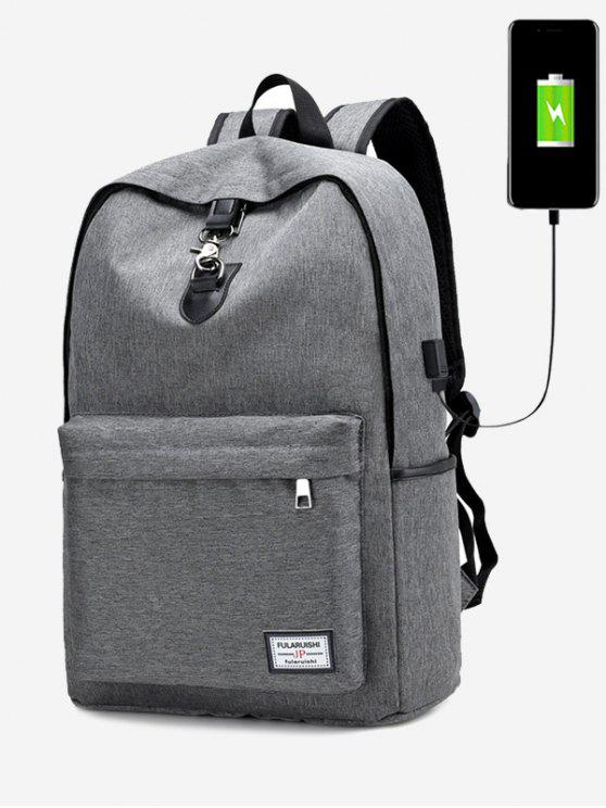 shop USB Charging Port Metal Backpack - GRAY