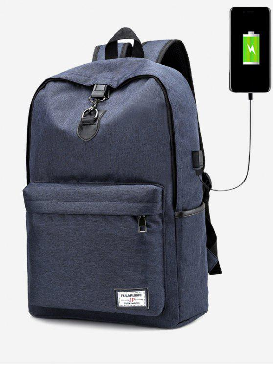 chic USB Charging Port Metal Backpack - BLUE